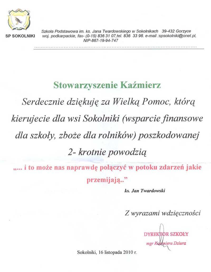 Podziekowanie z Sokolnik