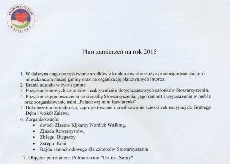 Plan pracy Stowarzyszenia na rok 2015